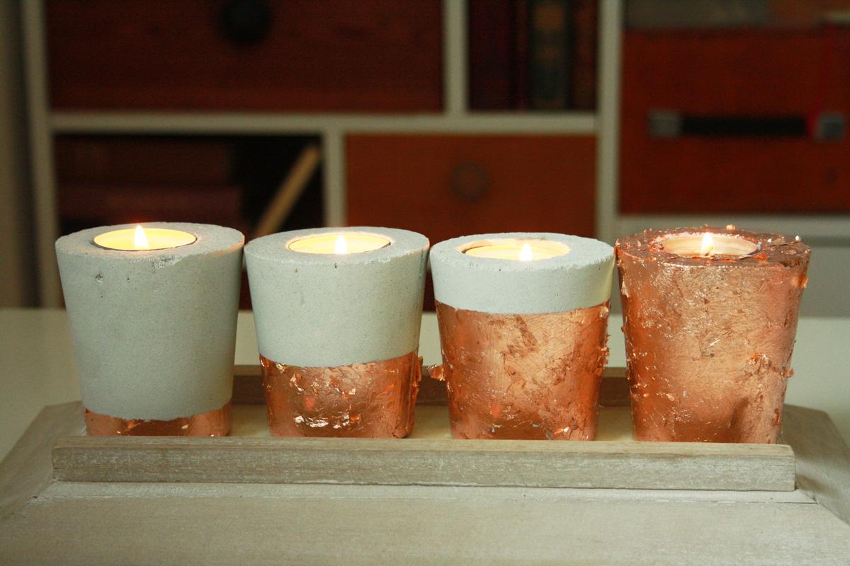 Hallo Piepmatz! DIY Anleitung für Beton Kerzenhalter Kupfer dipped