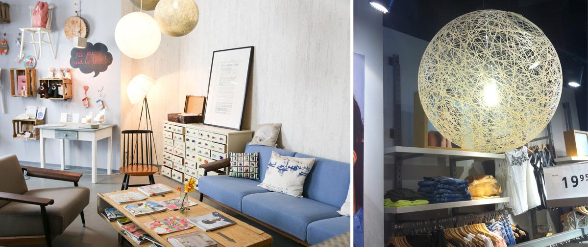 Fadenlampe in der Dawanda Snuggery und Seillampe bei Vero Moda