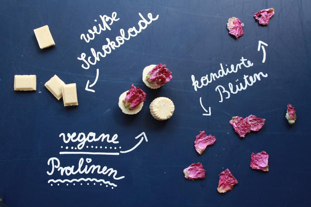 Wildrosen Pralinen mit weißer Schokolade vegan