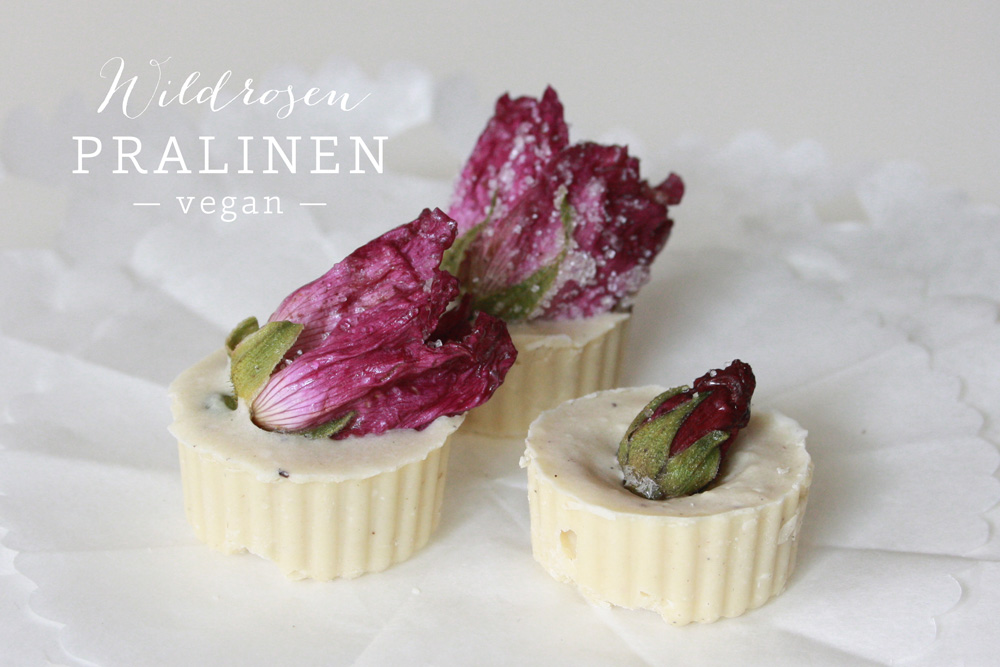 Wildrosen Pralinen mit kandierten Blüten vegan