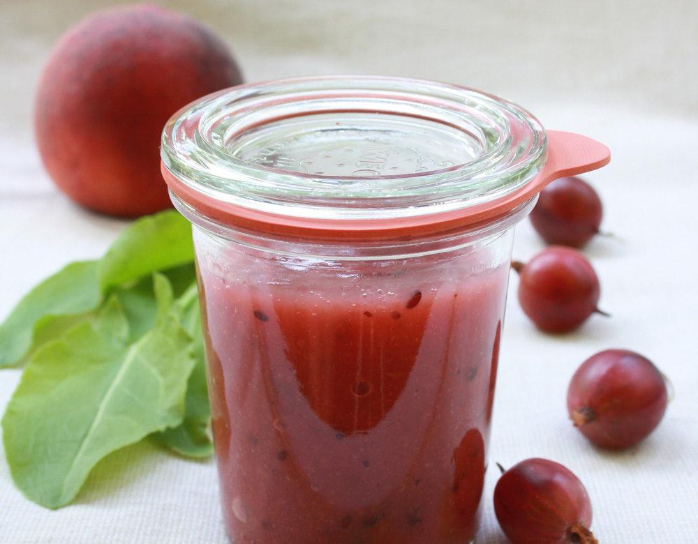 Stachelbeer Pfirsich Sauerampfer Marmelade