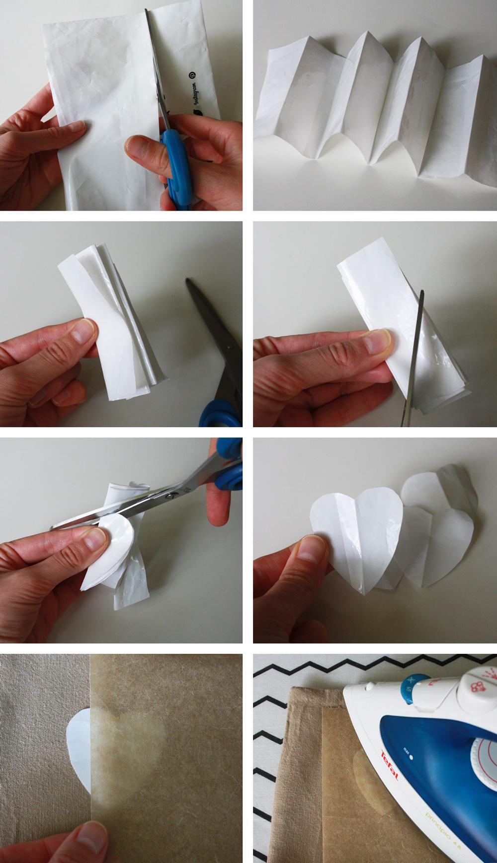 Kissen Aufdruck Bügelbild aus Plastiktüte