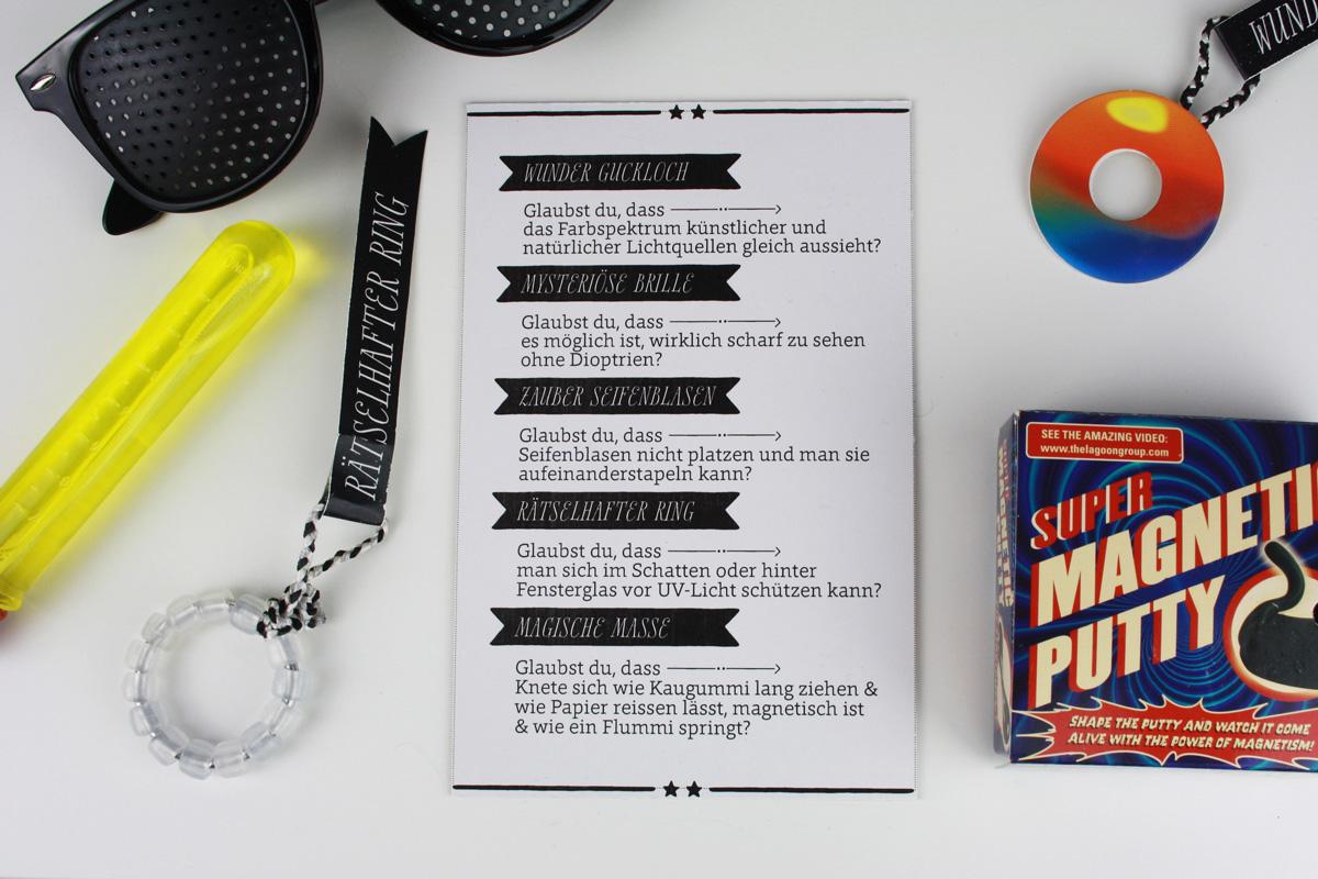 Wundertüte für einen Nerd: intelligente magnetische Knete, Lochrasterbrille, UV-Perlen, Stabile Seifenblasen, Regenbogenauge