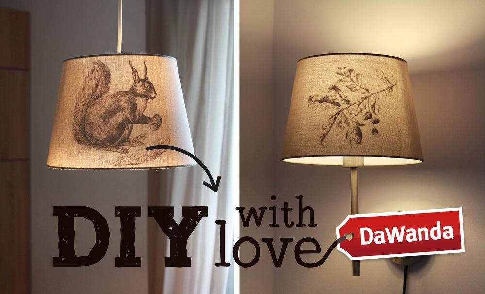 DaWanda DIY Lampenschirm Aufkleber Eichhörnchen