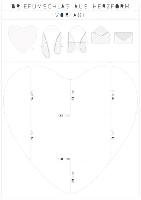 DIY Anleitung für Umschlag aus Herzform mit Vorlage