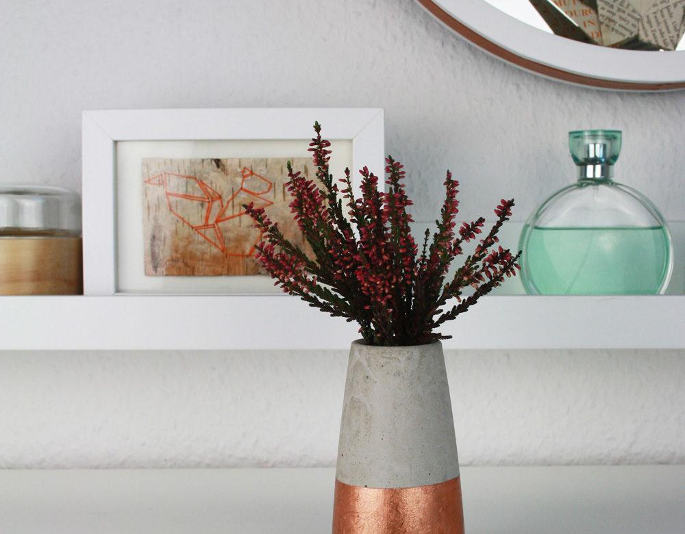 DIY Anleitung für Beton Vase ›Tube‹ kegelförmig/konisch dipped in Kupfer