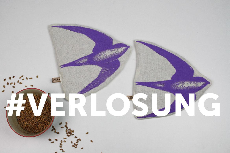 Hallo Piepmatz! Blog Verlosung: Bio Körnerkissen Schwalbe in lila Siebdruck